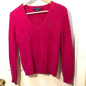 Ralph Lauren Hot Pink Cable Knit V Neck Sweater